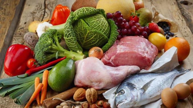 Lebensmittel für die Ernährungsform Paleo
